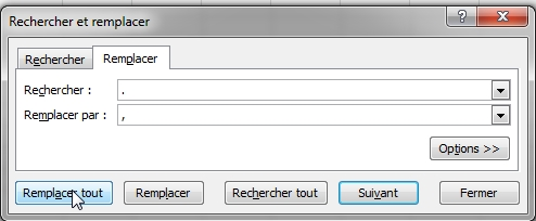 Transformer les points en virgules dans Microsoft Excel